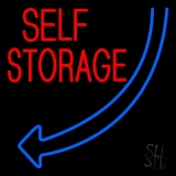 Self Storage Block Blue Arrow Neon Sign