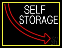 Self Storage Block With Yellow Border LED Neon Sign