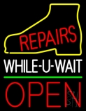 Shoe Repairs White While You Wait Open LED Neon Sign