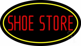 Shoe Store With Oval LED Neon Sign