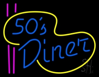 Turquoise 50s Diner Pink Lines LED Neon Sign