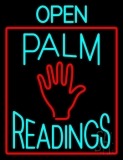 Turquoise Open Palm Readings Red Border LED Neon Sign