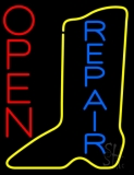 Vertical Yellow Shoe Blue Repair Open LED Neon Sign