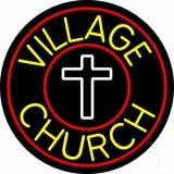 Village Church With Border LED Neon Sign