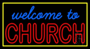 Welcome To Church With Border LED Neon Sign
