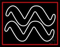 White Aquarius Logo Red Border LED Neon Sign