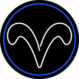 White Aries With Blue Circle LED Neon Sign