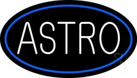 White Astro Blue Border Neon Sign