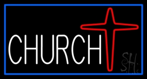 White Church With Cross Logo LED Neon Sign