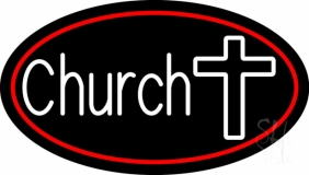 White Church With Cross LED Neon Sign