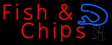 Red Fish and Chips Horizontal LED Neon Sign