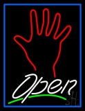 White Open Psychic Blue Border LED Neon Sign