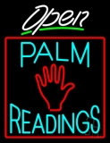 White Open Turquoise Palm Readings Red Border LED Neon Sign