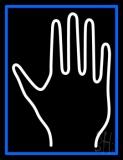 White Palm Blue Border LED Neon Sign