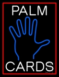 White Palm Cards Red Border LED Neon Sign