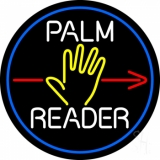 White Palm Reader Red Arrow Blue Border LED Neon Sign