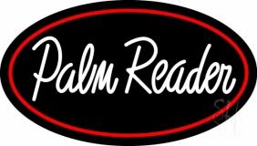 White Palm Reader Red Border LED Neon Sign