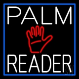 White Palm Reader With Blue Border LED Neon Sign
