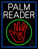 White Palm Reader With Logo Blue Border LED Neon Sign