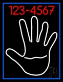 White Palm With Phone Number Blue Border LED Neon Sign
