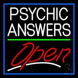 White Psychic Answers Red Open Green Line Blue Border LED Neon Sign