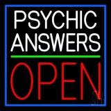 White Psychic Answers Red Open Green Line LED Neon Sign