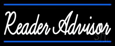 White Reader Advisor With Blue Border LED Neon Sign