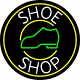 White Shoe Shop With Border LED Neon Sign
