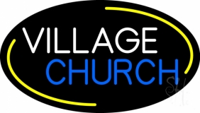 White Village Blue Church LED Neon Sign