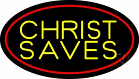 Yellow Christ Saves Neon Sign