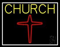 Yellow Church With Cross Logo LED Neon Sign