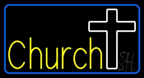 Yellow Church With Cross LED Neon Sign