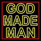 Yellow God Made Man LED Neon Sign