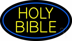 Yellow Holy Bible LED Neon Sign
