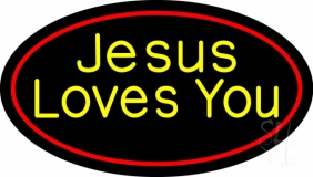 Yellow Jesus Loves You LED Neon Sign