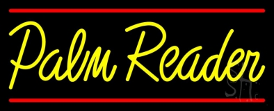 Yellow Palm Reader Red Line LED Neon Sign