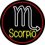 Yellow Scorpio Zodiac Red Border LED Neon Sign