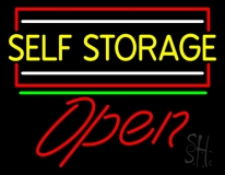 Yellow Self Storage Block With Open 1 LED Neon Sign