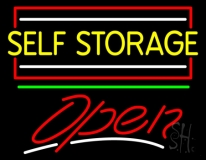 Yellow Self Storage Block With Open 2 LED Neon Sign