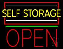 Yellow Self Storage Block With Open 3 LED Neon Sign