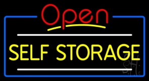 Yellow Self Storage Block With Open 4 LED Neon Sign