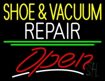 Yellow Shoe And Vacuum White Repair Open LED Neon Sign
