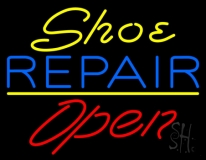 Yellow Shoe Blue Repair Open LED Neon Sign
