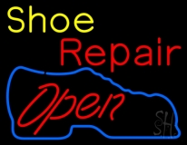 Yellow Shoe Red Repair Open LED Neon Sign