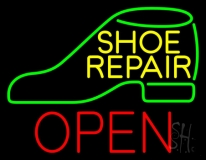 Yellow Shoe Repair Green Shoe Open LED Neon Sign