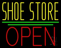 Yellow Shoe Store Open LED Neon Sign