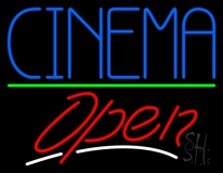Blue Cinema Open LED Neon Sign