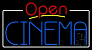 Blue Cinema Open With Border LED Neon Sign