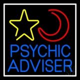 Blue Psychic Advisor With Logo White Border LED Neon Sign