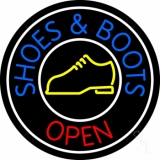 Blue Shoes And Boots Open LED Neon Sign